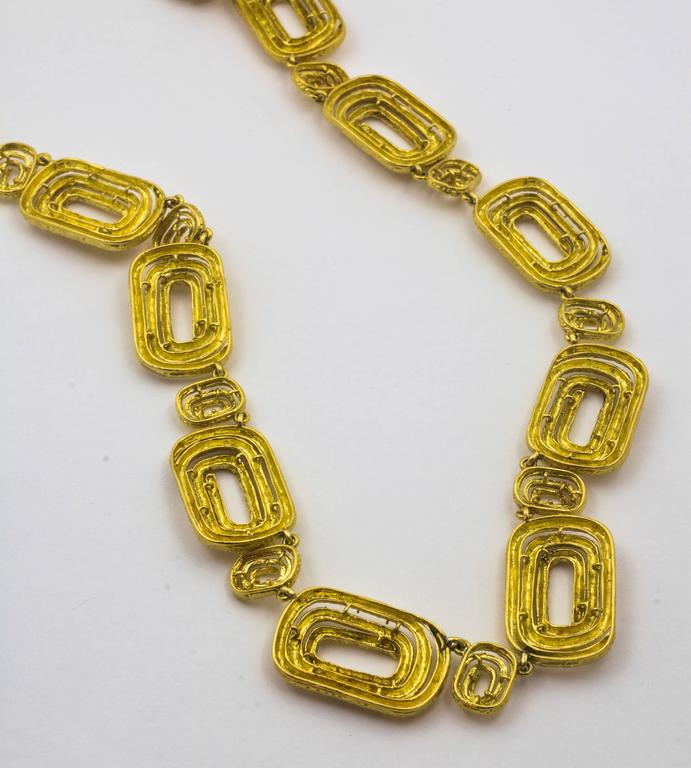 Architectural Engraved Gold Necklace 3