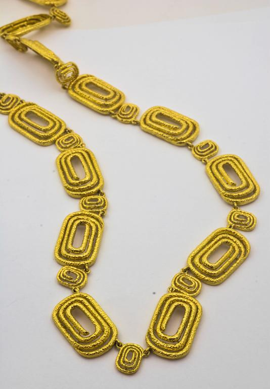 Architectural Engraved Gold Necklace 4