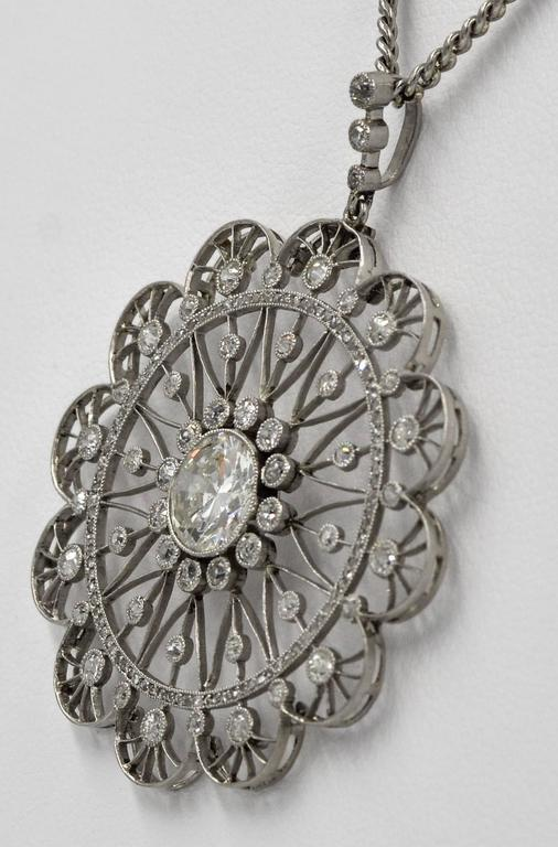 Women's or Men's Edwardian Diamond Platinum Filigree Pendant For Sale