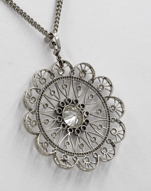 Edwardian Diamond Platinum Filigree Pendant In Excellent Condition For Sale In Dallas, TX