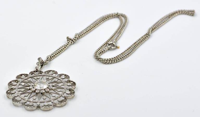 Edwardian Diamond Platinum Filigree Pendant 6
