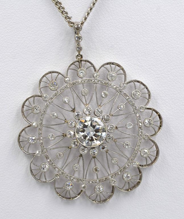 Edwardian Diamond Platinum Filigree Pendant 7