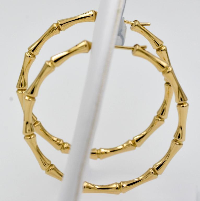 01837dfab Modern Gucci Bamboo 18 Karat Yellow Gold Hoop Earrings For Sale
