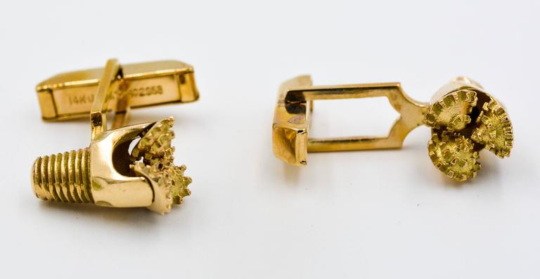 Oil Rig Drill Bit Yellow 14kt Gold Cufflinks In Excellent Condition In Dallas, TX