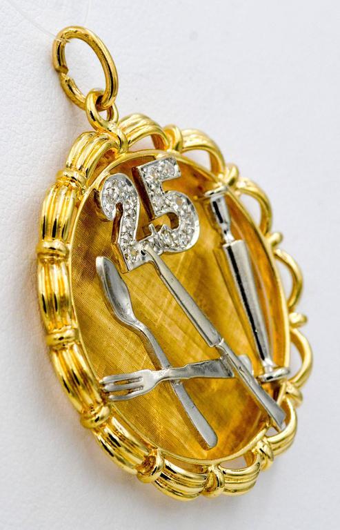 Modern 14 Karat Yellow/White Gold 25th Anniversary 'Silverware' Charm For Sale