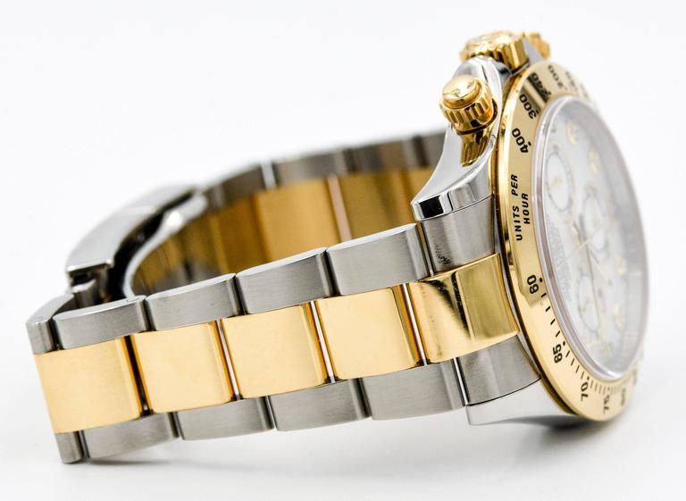 Rolex Yellow Gold Stainless Steel Daytona Mechanical Wristwatch  In Excellent Condition For Sale In Dallas, TX