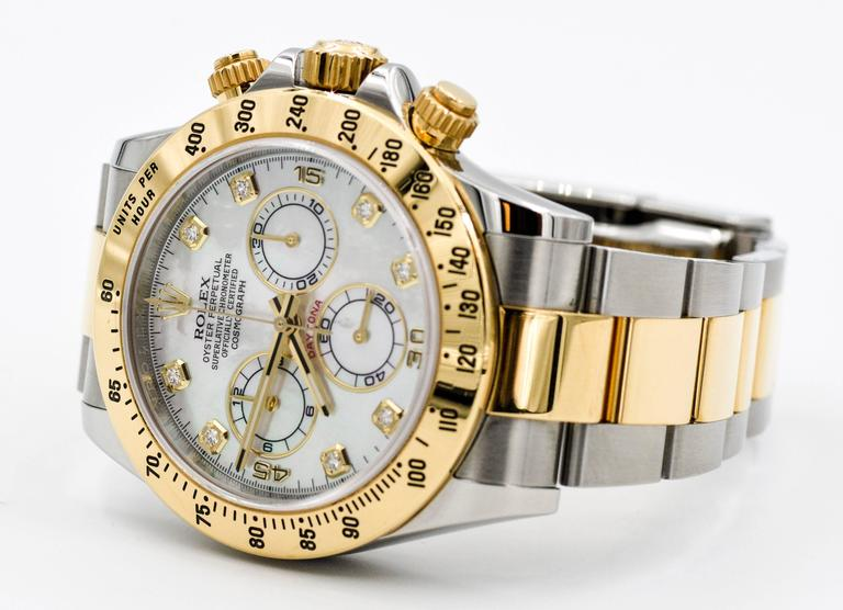 Modern Rolex Yellow Gold Stainless Steel Daytona Mechanical Wristwatch  For Sale
