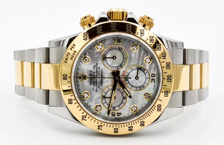 Rolex Yellow Gold Stainless Steel Daytona Mechanical Wristwatch  For Sale 3