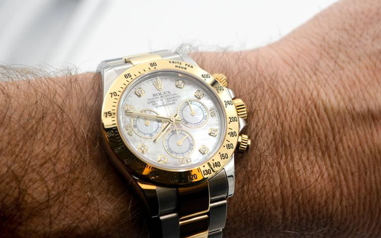 Men's Rolex Yellow Gold Stainless Steel Daytona Mechanical Wristwatch  For Sale