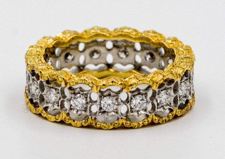 Yellow and White Gold Diamond Hand Engraved Filigree Eternity Band Ring 2