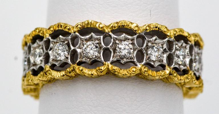 Yellow and White Gold Diamond Hand Engraved Filigree Eternity Band Ring 3