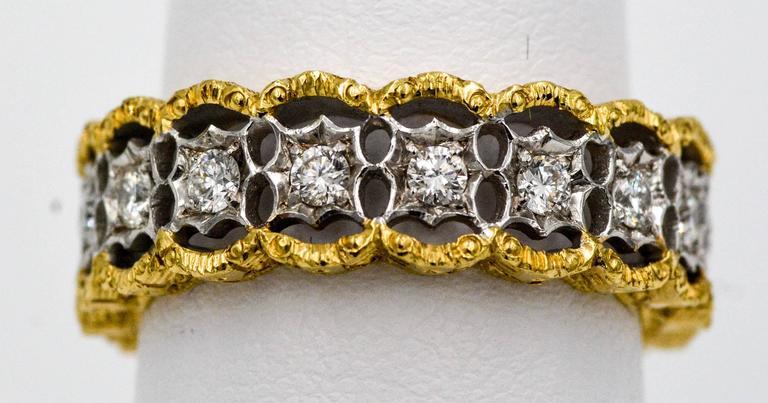 Modern 0.68 Ct Diamond Hand Engraved Filigree Eternity 18 K Gold Band Ring For Sale