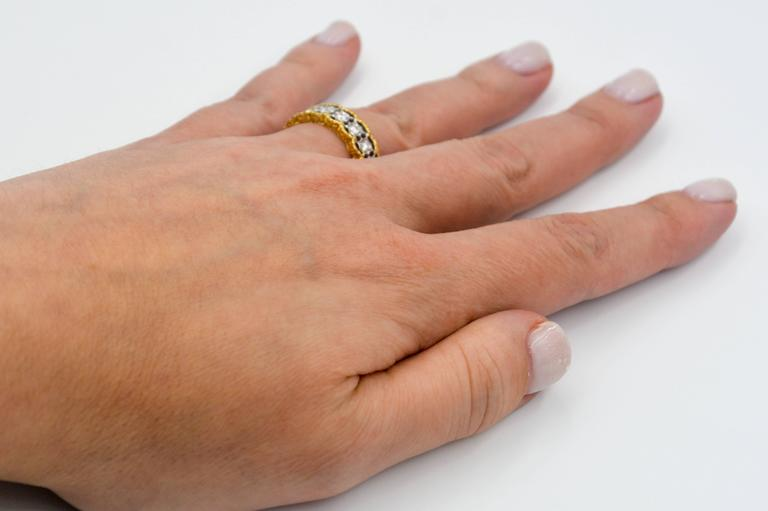 Yellow and White Gold Diamond Hand Engraved Filigree Eternity Band Ring 5