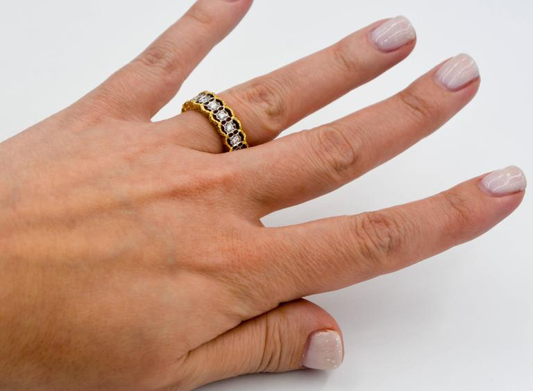 Yellow and White Gold Diamond Hand Engraved Filigree Eternity Band Ring 7