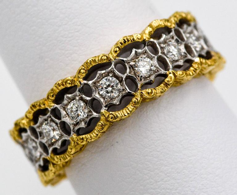 Yellow and White Gold Diamond Hand Engraved Filigree Eternity Band Ring 4