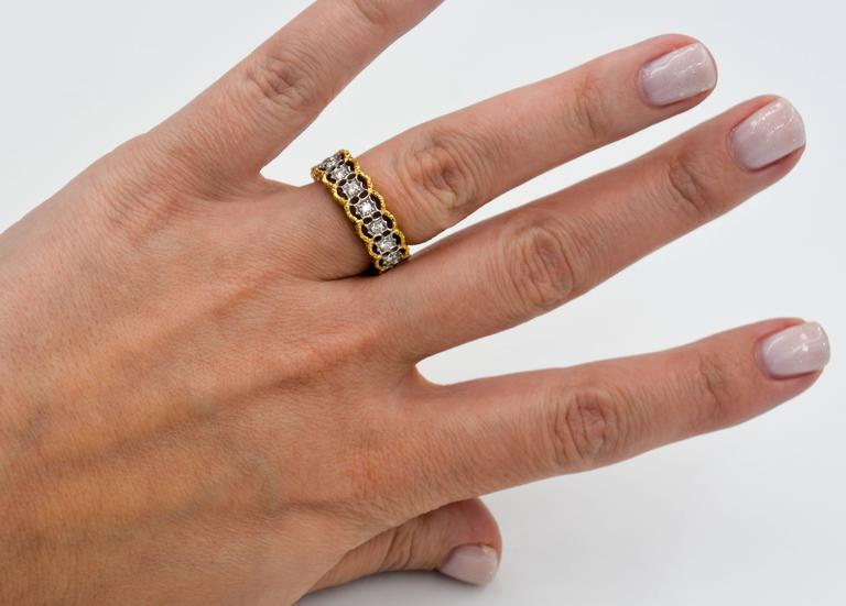 Yellow and White Gold Diamond Hand Engraved Filigree Eternity Band Ring 8