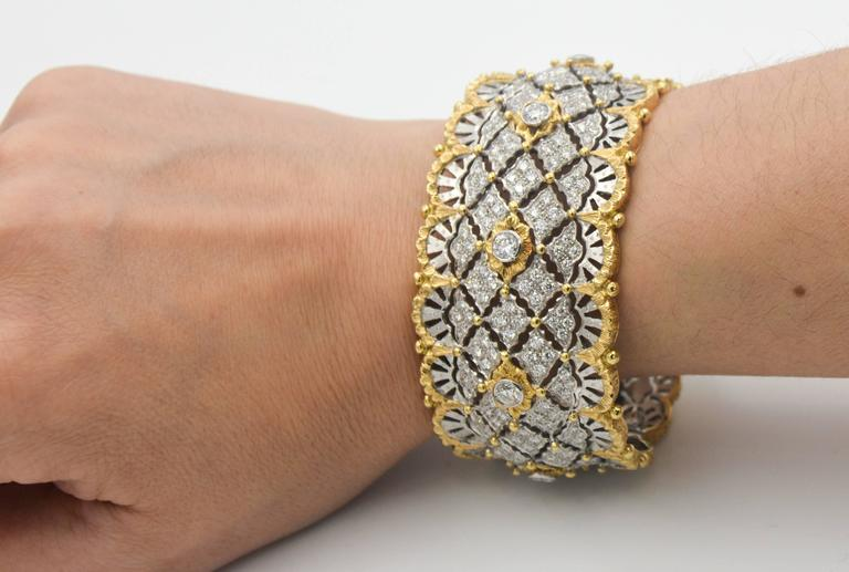 6.15 Carats Diamonds Yellow Gold Wide Hinged Cuff Bangle Bracelet  2