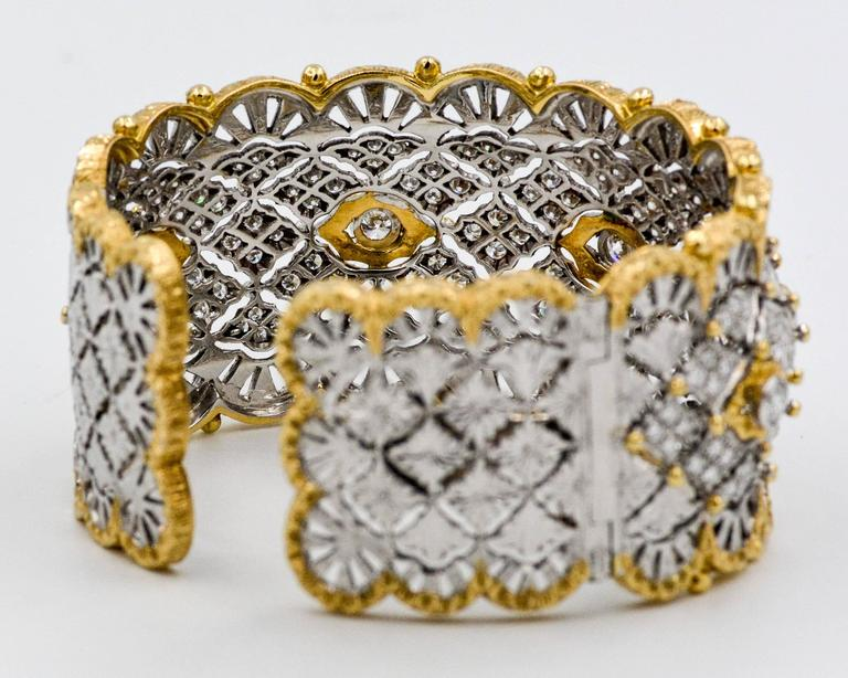 6.15 Carats Diamonds Yellow Gold Wide Hinged Cuff Bangle Bracelet  3