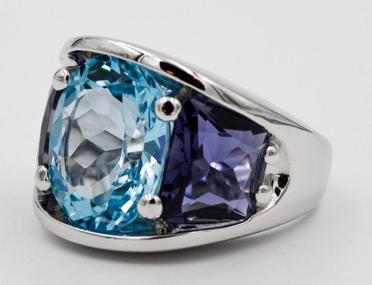 Modern Seaman Schepps Blue Topaz and Iolite White Gold Ring For Sale