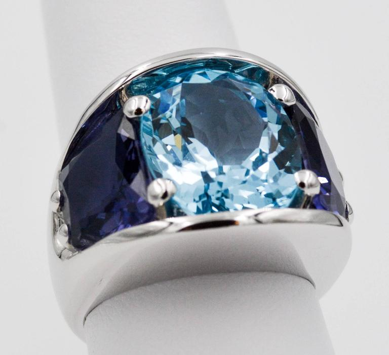 Seaman Schepps Blue Topaz and Iolite White Gold Ring In As new Condition For Sale In Dallas, TX
