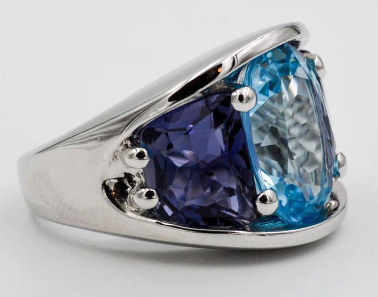 Seaman Schepps Blue Topaz and Iolite White Gold Ring For Sale 3