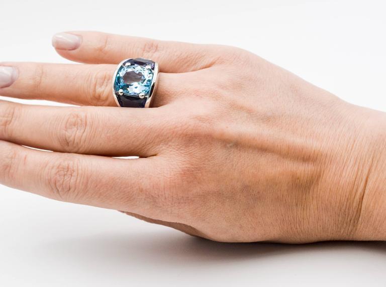Seaman Schepps Blue Topaz and Iolite White Gold Ring For Sale 5