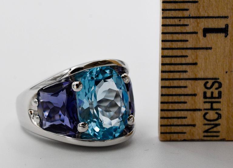 Seaman Schepps Blue Topaz and Iolite White Gold Ring For Sale 4