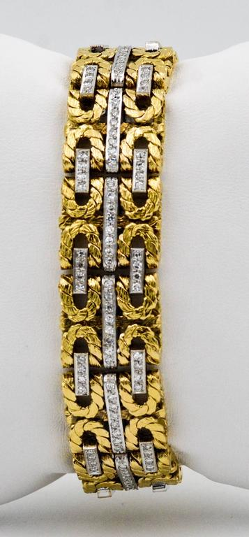 Modern 1980s Yellow and White Gold Diamond Stitch Bracelet For Sale