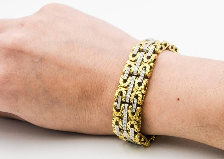 1980s Yellow and White Gold Diamond Stitch Bracelet For Sale 1