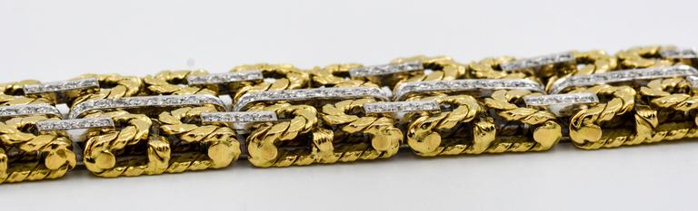 1980s Yellow and White Gold Diamond Stitch Bracelet For Sale 2