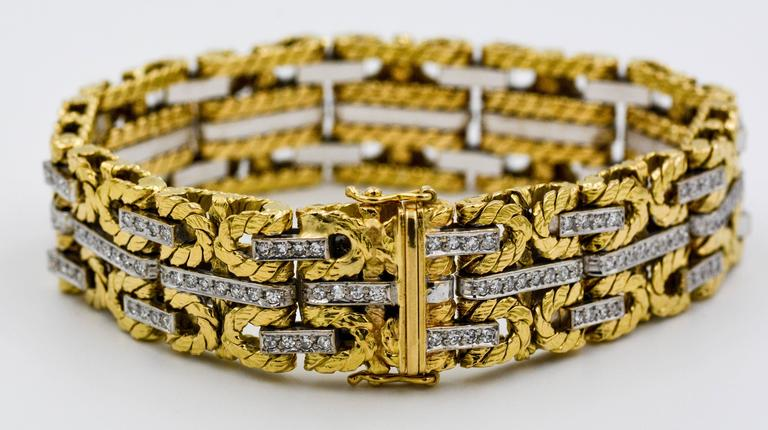 1980s Yellow and White Gold Diamond Stitch Bracelet For Sale 3