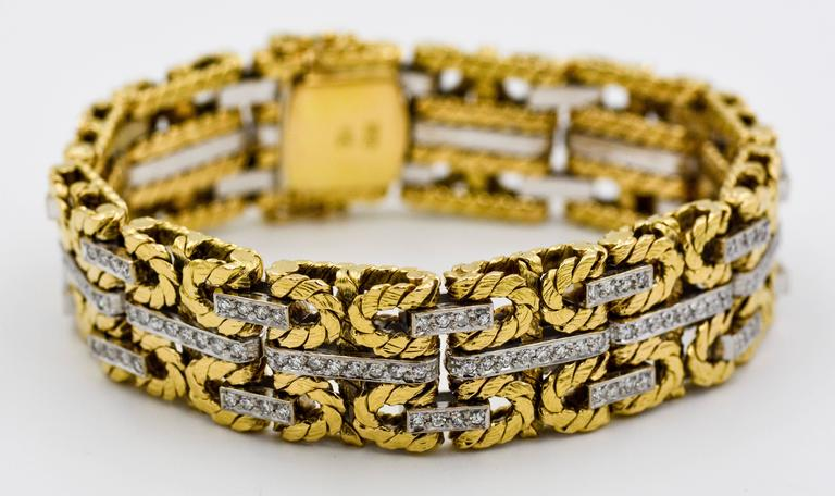 1980s Yellow and White Gold Diamond Stitch Bracelet For Sale 4