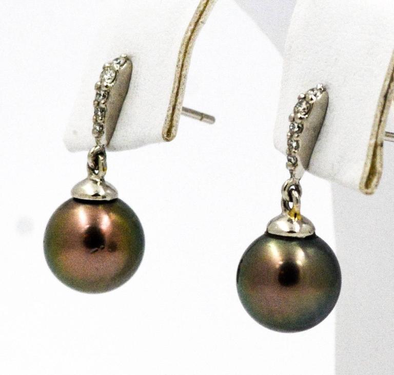 cultured black pearl drop earrings at 1stdibs