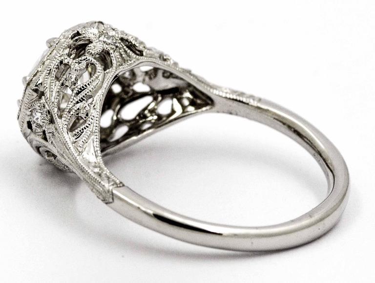 deco engraved platinum ring for sale at 1stdibs