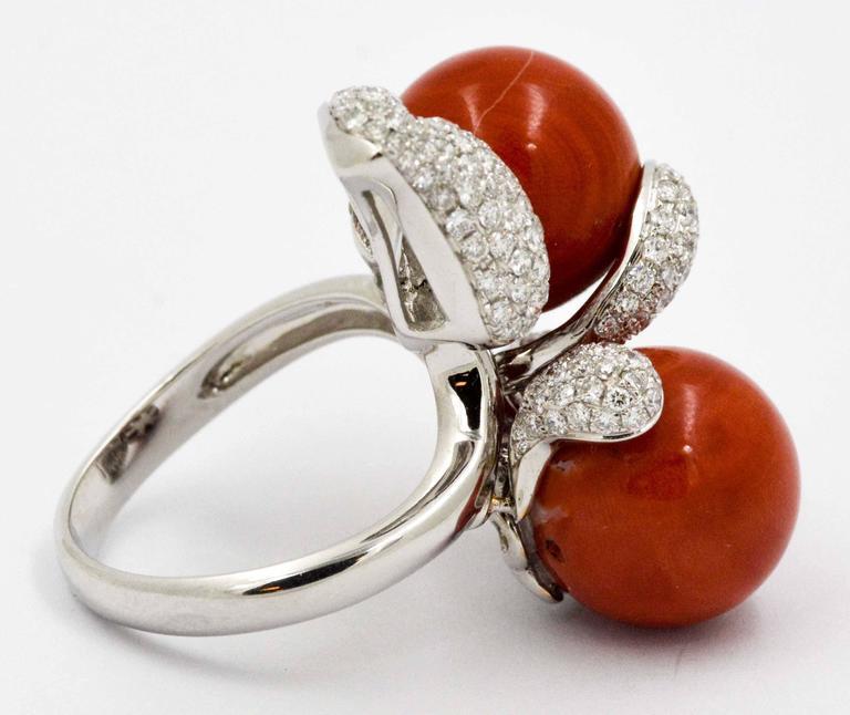 Women's DeSimone Torro Del Coral Diamond White Gold Ring   For Sale