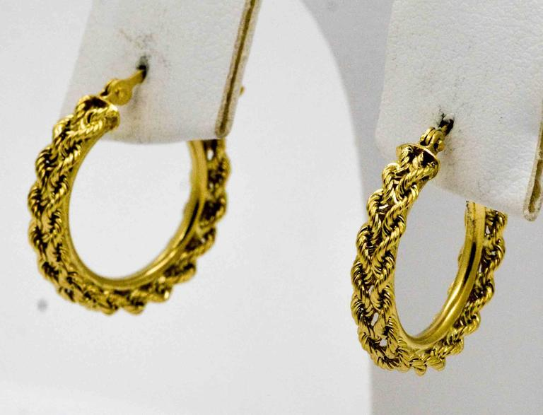 Modern Double 14 Ky Gold Rope Hoop Earrings For