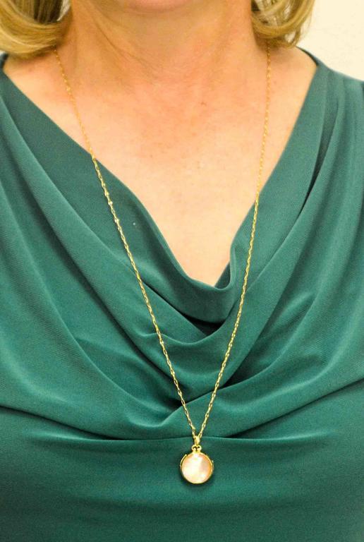Monica Kosann Rock Crystal MotherofPearl 18 KT Yellow Gold Locket