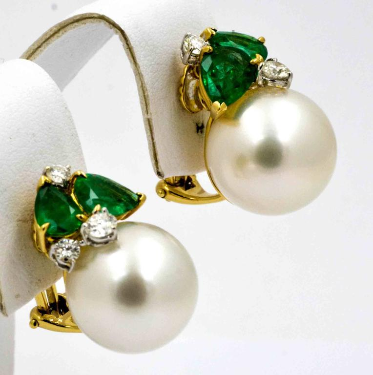 These Clic Seaman Schepps Earrings Feature And Amazing Matched Pair Of 14 Mm White South Sea