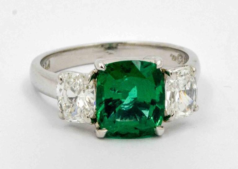 Modern J B Star 1.80 Carat Emerald Diamond Platinum Engagement Ring