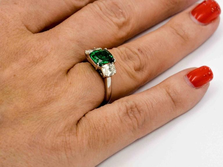 Women's J B Star 1.80 Carat Emerald Diamond Platinum Engagement Ring