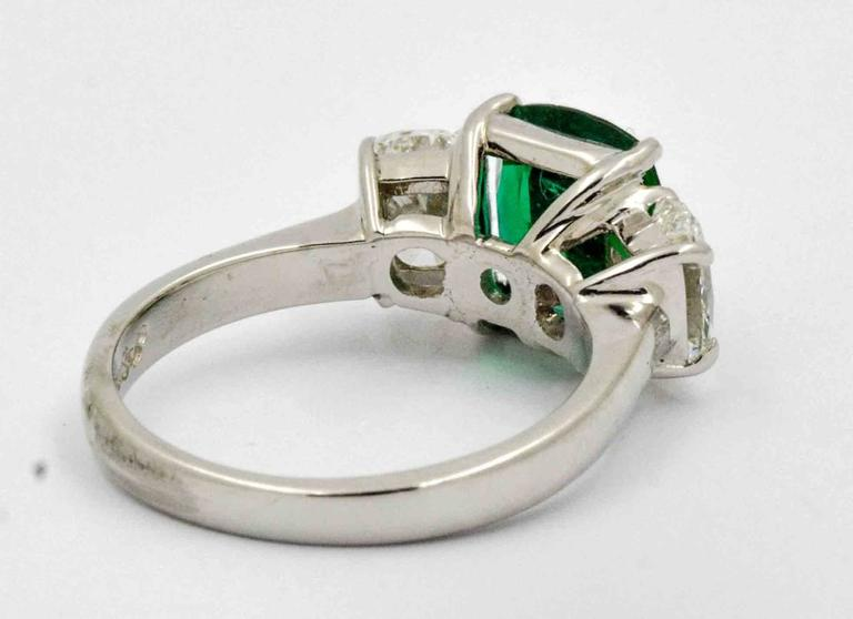 J B Star 1.80 Carat Emerald Diamond Platinum Engagement Ring 1