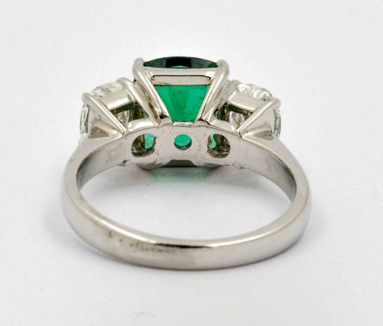 J B Star 1.80 Carat Emerald Diamond Platinum Engagement Ring 2