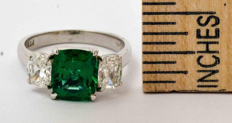 J B Star 1.80 Carat Emerald Diamond Platinum Engagement Ring 3