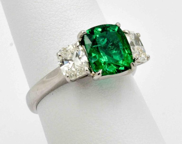 J B Star 1.80 Carat Emerald Diamond Platinum Engagement Ring 4