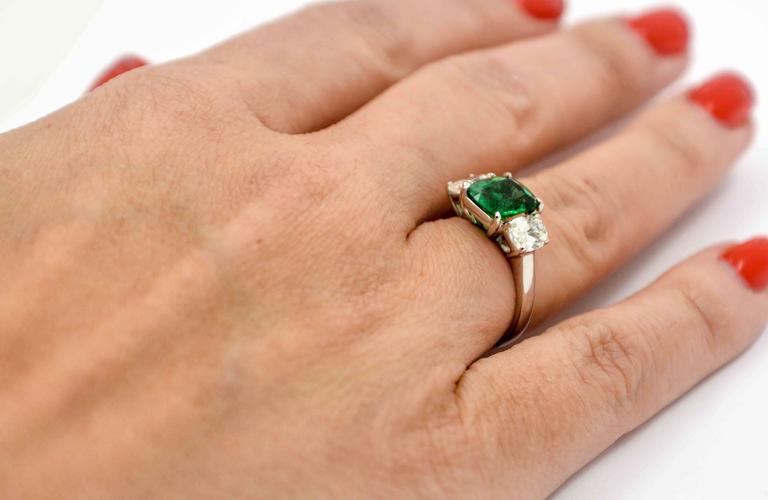 J B Star 1.80 Carat Emerald Diamond Platinum Engagement Ring 5