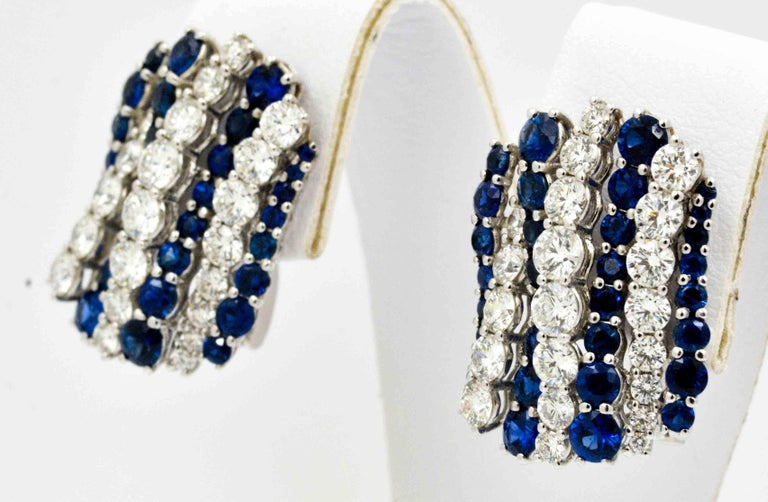 Blue Sapphire Diamond Earrings By Leo Pizzo In New Condition For Sale In Dallas, TX
