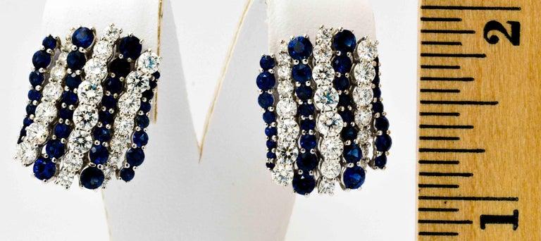 Women's  Blue Sapphire Diamond Earrings By Leo Pizzo For Sale