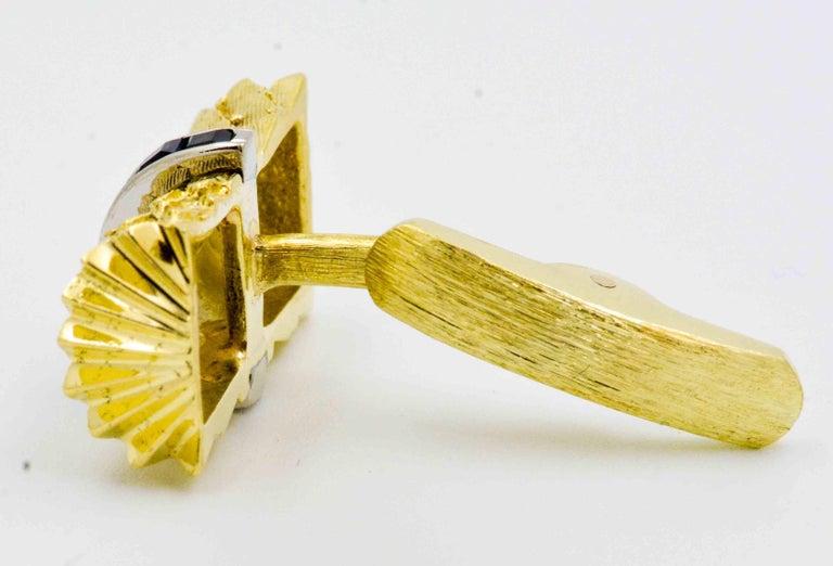 Sapphire and Yellow Gold Cufflinks 2