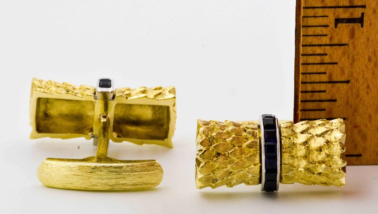 Sapphire and Yellow Gold Cufflinks 4