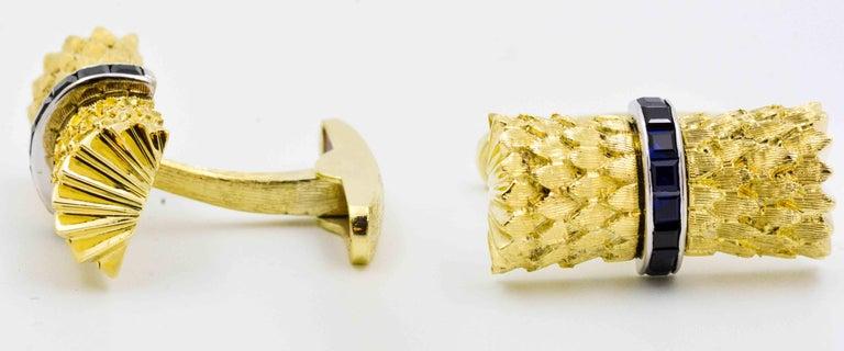 Sapphire and Yellow Gold Cufflinks 5